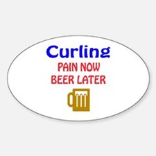 Curling Pain now Beer later Decal