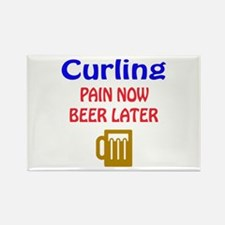 Curling Pain now Beer later Rectangle Magnet