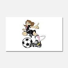 SOCCER GIRL PINK RIBBON Car Magnet 20 x 12