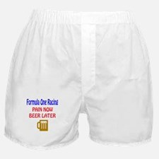Formula one racing Pain now Beer late Boxer Shorts