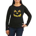 Happy Pumpkin Face Women's Long Sleeve Dark T-Shir