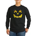 Happy Pumpkin Face Long Sleeve Dark T-Shirt