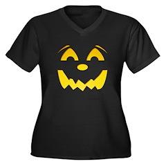 Happy Pumpkin Face Women's Plus Size V-Neck Dark T