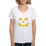 Happy Pumpkin Face Women's V-Neck T-Shirt