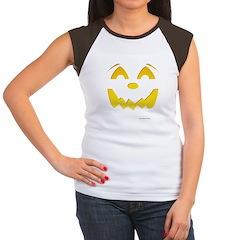 Happy Pumpkin Face Women's Cap Sleeve T-Shirt
