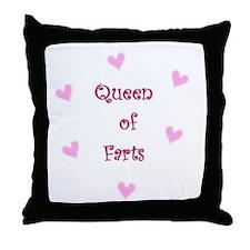 Queen of Hearts Queen of Farts Throw Pillow