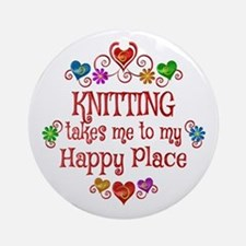 Knitting Happy Place Round Ornament