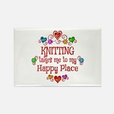 Knitting Happy Place Rectangle Magnet (10 pack)