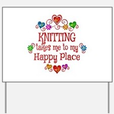 Knitting Happy Place Yard Sign
