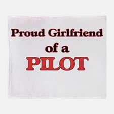 Proud Girlfriend of a Pilot Throw Blanket
