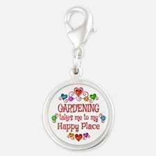 Gardening Happy Place Silver Round Charm