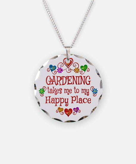 Gardening Happy Place Necklace Circle Charm