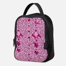 Pink Faux Glitter & Heart Neoprene Lunch Bag