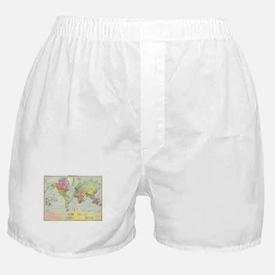 Vintage Political Map of The World (1 Boxer Shorts