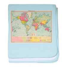 Vintage Political Map of The World (1 baby blanket