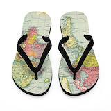 Old world map Flip Flops