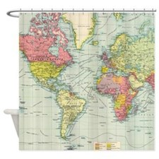 Vintage Political Map of The World Shower Curtain