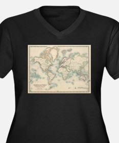 Vintage Map of The World (1911) Plus Size T-Shirt