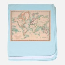 Vintage Map of The World (1911) baby blanket