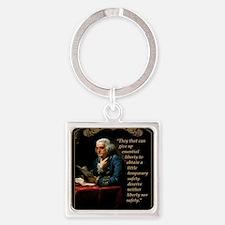 Unique Ben franklin Square Keychain