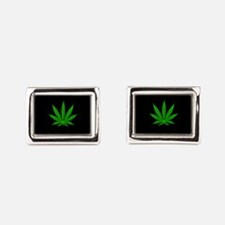 Cannabis Leaf Rectangular Cufflinks