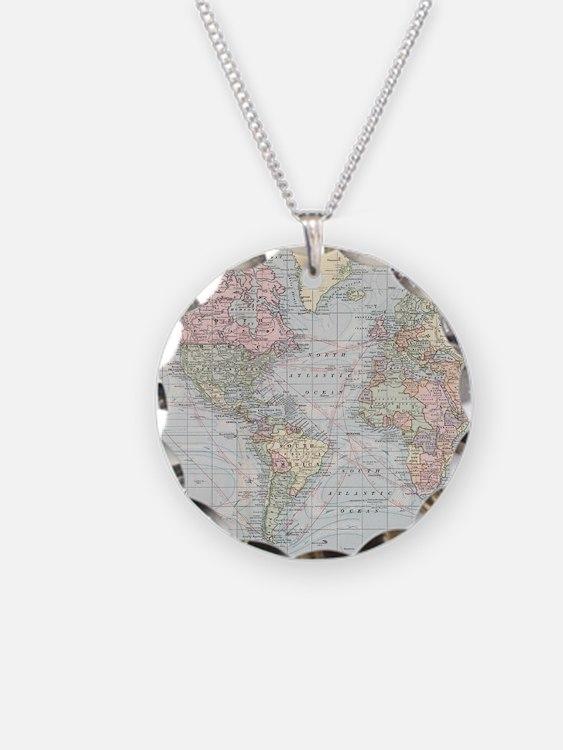 Vintage World Map (1901) Necklace