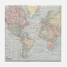 Vintage World Map (1901) Tile Coaster