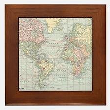 Vintage World Map (1901) Framed Tile