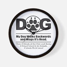 Daog Walks Backward Wall Clock