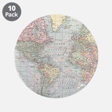 """Vintage World Map (1901) 3.5"""" Button (10 pack)"""
