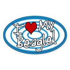 Hypno I Love My Beagle Oval Sticker Blue