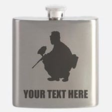 Paintball Player Silhouette Flask