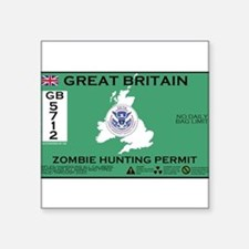 "Cute Zombie permit Square Sticker 3"" x 3"""