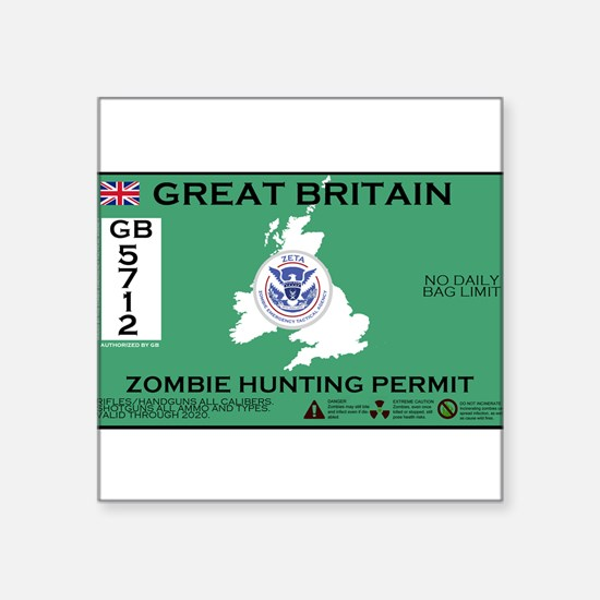 "Cool Zombie hunting permit Square Sticker 3"" x 3"""
