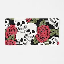 Skulls and Roses Aluminum License Plate