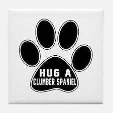 Hug A Clumber Spaniel Dog Tile Coaster