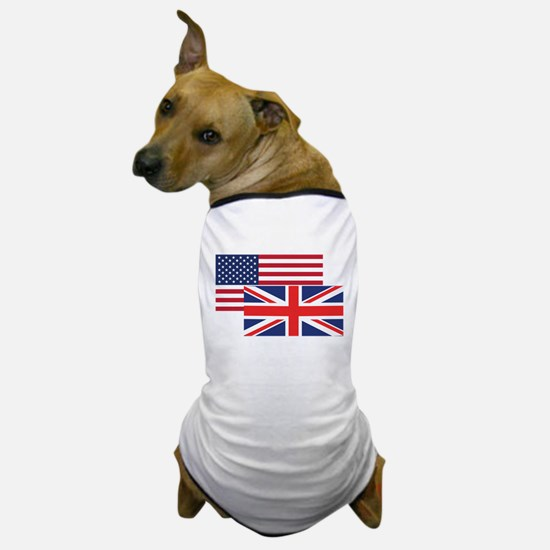 American And British Flag Dog T-Shirt
