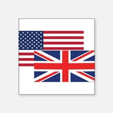 American And British Flag Sticker