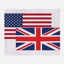 American And British Flag Throw Blanket