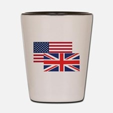 American And British Flag Shot Glass