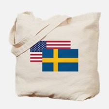 American And Swedish Flag Tote Bag