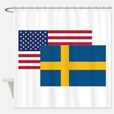 American And Swedish Flag Shower Curtain