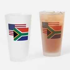 American And South African Flag Drinking Glass
