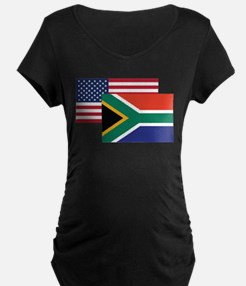 American And South African Flag Maternity T-Shirt