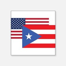 American And Puerto Rican Flag Sticker