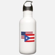 American And Puerto Rican Flag Water Bottle