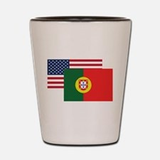 American And Portuguese Flag Shot Glass
