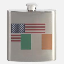 American And Irish Flag Flask