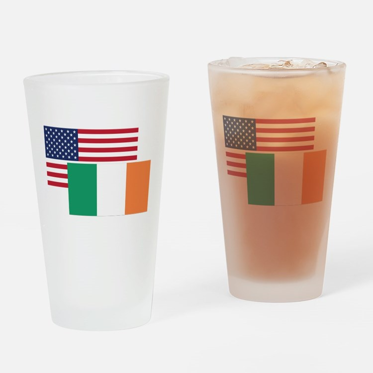American And Irish Flag Drinking Glass