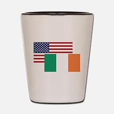 American And Irish Flag Shot Glass